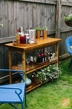 This would also work great in my kitchen...Outdoor Decorating Trend: The Beverage Cart - The Home Depot #BringInSpring