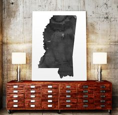 USA MAP PRINTABLE Mississippi watercolor Iowa print by TypoWorld