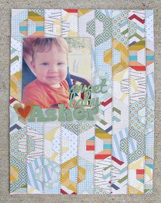 Inspired Jules: Sweet Baby Asher | Scrapbook Layout (lots of hexagons )  #Scrapbook #Scrapbooking