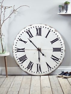 Made from lightweight metal with a rustic industrial finish, our distressed oversized clock features painted black roman numerals and metal hands. Surprisingly lightweight and easy to hang, this larger than life industrial inspired aged metal clock will create a centrepiece in your kitchen or dining area.
