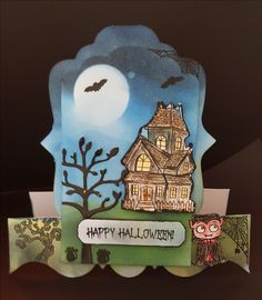 #Halloween card using #Hunkydory stamps and distress inks on a shaped stepper card