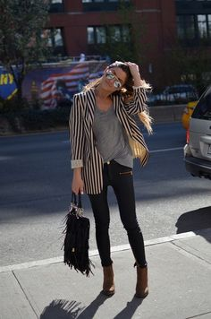 black pants + ankle boots + loose grey shirt + boyfriend blazer