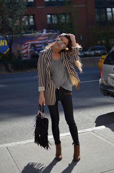 black pants + ankle boots + loose grey shirt + boyfriend blazer