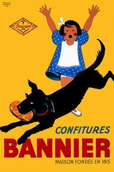 Bannier Confitures  c.1940s  http://www.vintagevenus.com.au/products/vintage_poster_print-fd382
