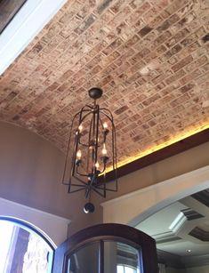 Brick barrel ceiling in foyer