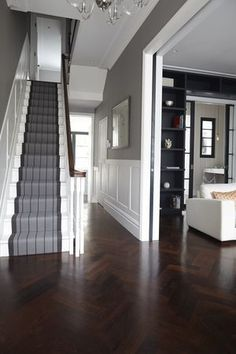 Victorian Hallway Uk Home Design Ideas, Renovations & Photos – Home Renovation Style At Home, Hall Flooring, Wood Flooring, Flooring Ideas, Wood Paneling, Garage Flooring, Wall Panelling, Entryway Flooring, Wainscoting Ideas
