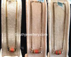 Multi strand nallapusalu chains with coral pendants - Indian Jewellery Designs Bead Jewellery, Beaded Jewelry, Gold Jhumka Earrings, Gold Mangalsutra Designs, Gold Jewelry Simple, Indian Jewelry, Jewelry Design, Beads, Pendants