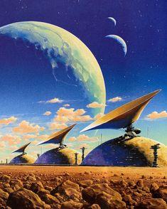 Sci Fi Wallpaper, Planets Wallpaper, 70s Sci Fi Art, Retro Futuristic, Animation Background, Science Fiction Art, Pulp Art, Sci Fi Fantasy, Fantasy Artwork