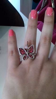 Pink butterfly ring!