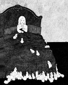 rabbits on bed, Edward Gorey Edward Gorey, Art Beauté, Art Mural, Rabbit Illustration, Illustration Art, Art Magique, Arte Obscura, Bunny Art, Bunny Bunny