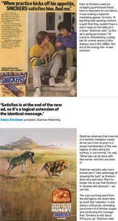 Great example of visual branding and staying true to brand origins. Would we be able to recognize Snickers without the visual? #foodforthought.  Snickers Tweaked One of Advertising's Most Famous Taglines | Adweek