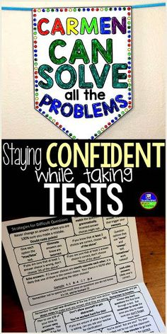 Tips for Staying Confident While Taking Tests with a test prep foldable and a confidence boosting pennant Elementary School Counseling, High School Classroom, Elementary Math, Math Classroom, Classroom Organization, Classroom Management, Classroom Ideas, English Teaching Resources, Math Resources