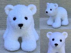 """This Polar Bear Cub is knit in the round, using Magic Loop or double pointed needles. The four legs, body and head are knit on as you go along. Only the ears and tail are attached later. Approximately 9 ½"""" (standing on four legs and not including ears), Polar Bear Cub is worked in worsted wt. (Aran/10-ply) yarn, using approx. 200 yds. This little cub has short, chubby legs, pudgy feet, a plump body, and a sweet, innocent face that will win over your heart!"""
