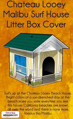Chateau Looey Malibu Surf House Litter Box Cover by Chateau Looey  - Surf's up at the Chateau Looey Beach House. Bright colors of a sun-drenched day at the beach make you smile everytime you see this house. California beaches are known all over the world and there is none more famous tha Malibu. - Price: $25.24 -  #catlitterboxfurniture #cat #litter #box #furniture - http://www.catbedandtoy.com/cat-litter-box-furniture