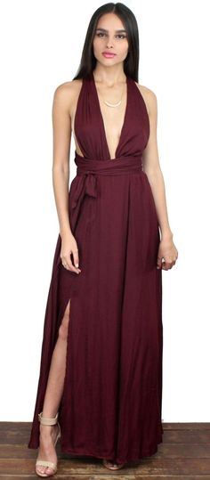 Gorgeous Wine Multiway Maxi Dress featuring Long Fabric Straps to adjust & Open at the Legs. No Zipper, Elastic at the Waist   Material: PolyesterColor: WineModel is wearing a Small  Model Info: Height: 5'9 | Bust: 32 | Waist: 24 | Hip: 34 | Size Guide Product Code: 2764|2765|2766      FIT: This garment fits true to size  BUST: Great for any cup size. Multiway, Adjustable at the Top   WAIST: Fitted - Fitted at natural waist, Elastic Waist  HIPS: Not Fitted - Room for hips.  UNDE...
