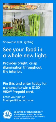 Showcase LED Lighting - See your food in a whole new light. Provides bright, crisp illumination throughout the interior.#GEfreshFL