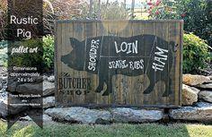BUTCHER Shop Cuts Rustic Wood Sign / PIG / door mangoseedmarketplace
