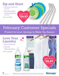 Save big in February with these Norwex customer specials! Silicone lids and Stainless steel straws to remove more plastic from your life! And no room for stains or wrinkles. You HATE to iron right? Norwex Biz, Norwex Cleaning, Wrinkle Release, Norwex Consultant, Stainless Steel Straws, Clean Microfiber, Shopping Websites, Make It Yourself, Bottle