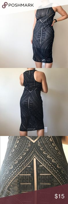 MOSSIMO Tribal Dress Dark black sheer cutouts over a nude slip. So gorgeous, dresses up or down! Mossimo Supply Co. Dresses Midi