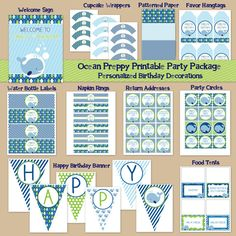 Whale Theme Printable Party Package - Digital Printable File - Printable Birthday Party Ocean - Preppy Boy's First Birthday on Etsy, $35.00