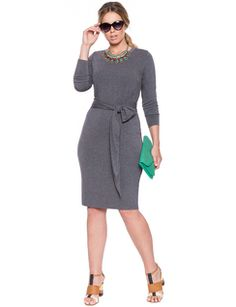 eloquii Tie Waist Dress Charcoal Grey #plussizefashion