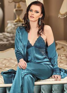 Nurteks 5922 Satin 3 Pcs Pajamas Set will make you redefine comfort when you wear this cozy and stylish set. Jolie Lingerie, Satin Lingerie, Pretty Lingerie, Beautiful Lingerie, Pyjama Satin, Satin Sleepwear, Nightwear, Sexy Pajamas, Pyjamas