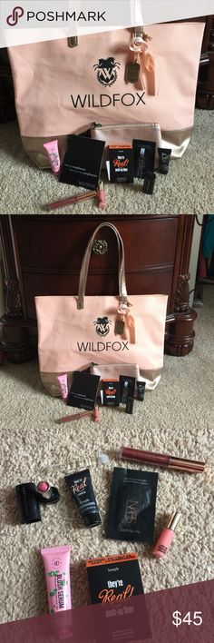 """WILDFOX TOTE, LAURA MERCIER BAG WITH MAKEUP!💄💋💄 WILDFOX NEW PINK AND ROSE GOLD TONE BOTTOM AND STRAPS 17w x12L. Strap drop 9"""" TOTE! PERFECT CONDITION WITH A MAGNETIC BUTTON CLOSURE! PLUS 🎉🎉🌟🎉🌟LAURA MERCIER NWT ZIPPERED COSMETIC CASE WITH MARC JACOBS LIPSTICK,SMITH &CULT LIP GLOSS,NARS BRONZER,GRL POWER LIQUID LIP,benefit remover,BLUSH SERUM,TOCCA """" GIULITTA"""" perfume sample, AND BENEFIT PUSH UP LASH LINER....... *** ALL NEW UNUSED PRODUCTS!! Wildfox Bags Totes"""