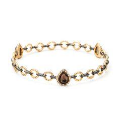 Alexis Bittar Gold Link with Pink Tourmaline Crystal Bangle Bracelet