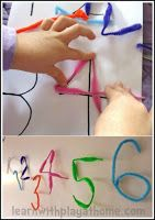 Pipe Cleaner Numbers or letters . Fine motor skills, manipulation, number formation, ordering and more. Playful Maths from Learn with Play at home Play Based Learning, Preschool Learning, Kindergarten Math, Early Learning, Teaching Math, Preschool Activities, Kids Learning, Kindergarten Projects, Childhood Education