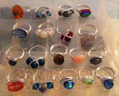 More wire wrapped rings various styles in sliver plated anti tarnish wire
