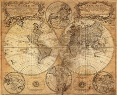 Retro World Map Cotton Fabric, Map of Voyage in 1746 Patern, Best as Wallpaper (33 x 31 at biggest)