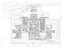 Image 25 of 30 from gallery of Avila Hospital / EACSN. Healthcare Architecture, Hospital Architecture, Architecture Plan, Hospital Floor Plan, Hospital Plans, Restaurant Plan, Hospital Design, Image 30, Ground Floor Plan
