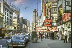 Broadway looking North from 50th St. 1962. Guys And Dolls, 50th, Times Square, Broadway, New York, Nyc, Travel, Vintage, New York City