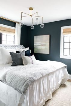 Bold Bedroom in Benjamin Moore's Newburg Green. Denver Tudor Project   Studio McGee