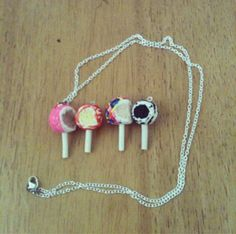 Cake Pop necklaces polymer clay by FlowerChildCharms on Etsy wonder why we are sick from being over there