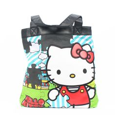 Hello Kitty Santb0573 Tote,Blue,One Size. Hello Kitty super cute Puzzle Tote. Made of canvas and faux leather. Dual carrying handles and button magnetic closure. Interior: zippered pocket, two open pockets. Made in China.