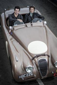 David Gandy and Yasmin Le Bon in Jaguar XK120  More  
