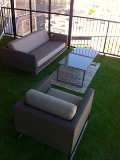 Artificial turf - suitable for any area - used on a high-rise balcony in downtown Dallas. Installed by Texas Elite Landscaping.