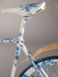 blue and white bicycle