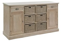 Buffet with 6 Baskets Country Living Furniture, Large Sideboard, Mexican Designs, Wood Colors, Wood Species, Grey Wash, Getting Organized, Discount Designer, Solid Wood