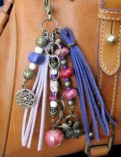 #ThePaintedCabeza ~ Boho Purse Charm, Tassel, Zipper Pull, Key Chain - Pink, Lavender Purple, Antiqued Brass, Glass, Ceramic, Agate Stone, Wood, Flower