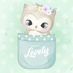 Coruja bonita dentro do bolso Vetor Prem. Cute Images, Cute Pictures, Scrapbooking Image, Baby Illustration, Watercolor Effects, Small Paintings, Cute Owl, Baby Prints, Cute Cartoon