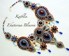 """Сокровищница Али-бабы"" - bead-embroidered neckpiece with bead-bezelled cabochons by Kate Blinova (Katblin)"