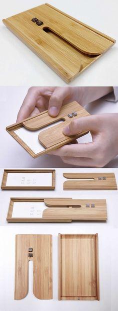 Wooden Bamboo Business Card Case Holder