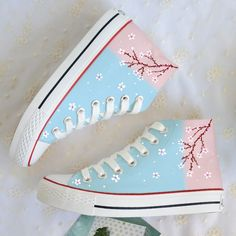 Graffiti Floral Canvas Shoes Fabric Material:Canvas Shoes Are Hand Painted And Pre-order,Each Pair Are Unique. Kawaii Fashion, Cute Fashion, Fashion Shoes, Mens Fashion, Harajuku Fashion, Runway Fashion, Korean Fashion, Kawaii Shoes, Kawaii Clothes
