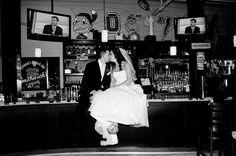on the bar, wedding photo