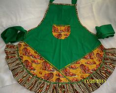 Whimsey Cottage - Turkey Time Apron by whimseycottage on Etsy, $25.00