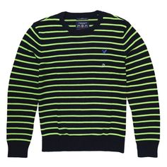 Green and navy stripped sweater Neon green and navy stripped boyfriend sweater. Athletic fit. Brand new. 100% cotton American Eagle Outfitters Sweaters Crew & Scoop Necks
