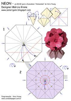 Diagrama da Base para Kusudama Neon, de Márcia Krone, pg 01