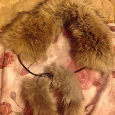 HOST PICK Real Fur Neck Scarf 100% Authentic raccoon fur, only worn a few times, some water damage on scarf but not very noticeable while worn, very warm for winter Dena Accessories Scarves & Wraps